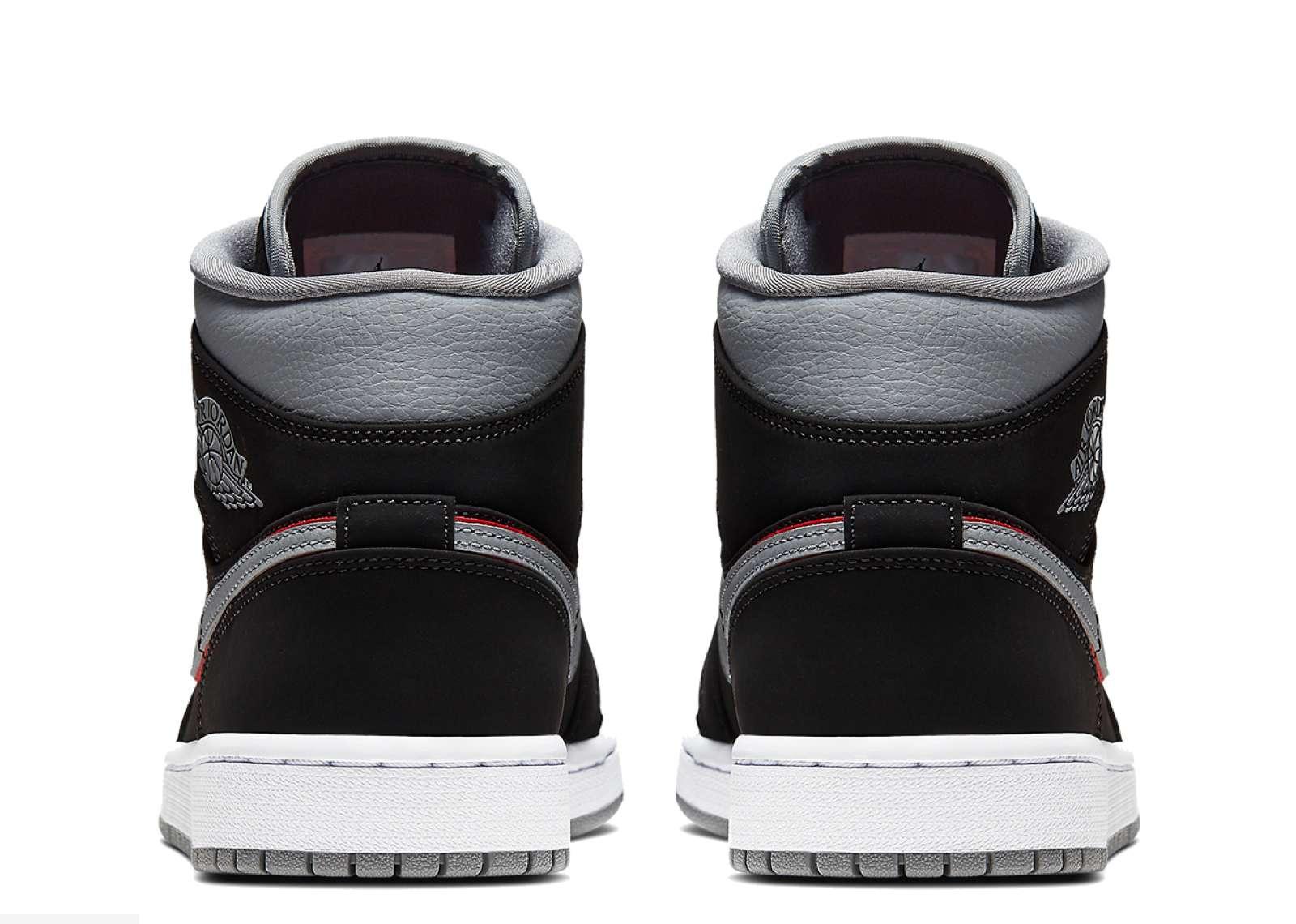 sale retailer 225bb 89e69 Jordan 1 Mid Black Particle Grey Gym Red - 4