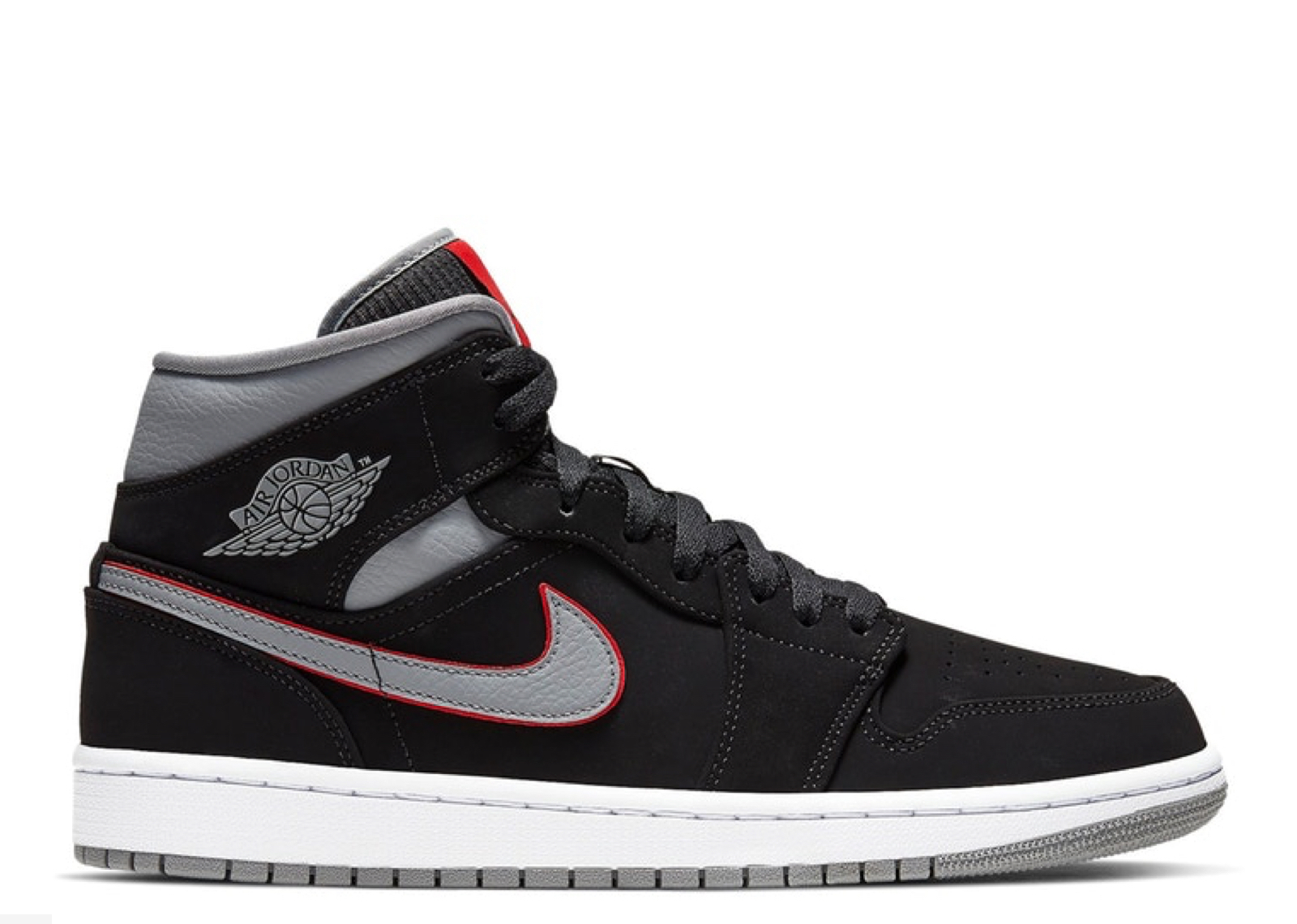 4b5b11ca70a06 Jordan 1 Mid Black Particle Grey Gym Red