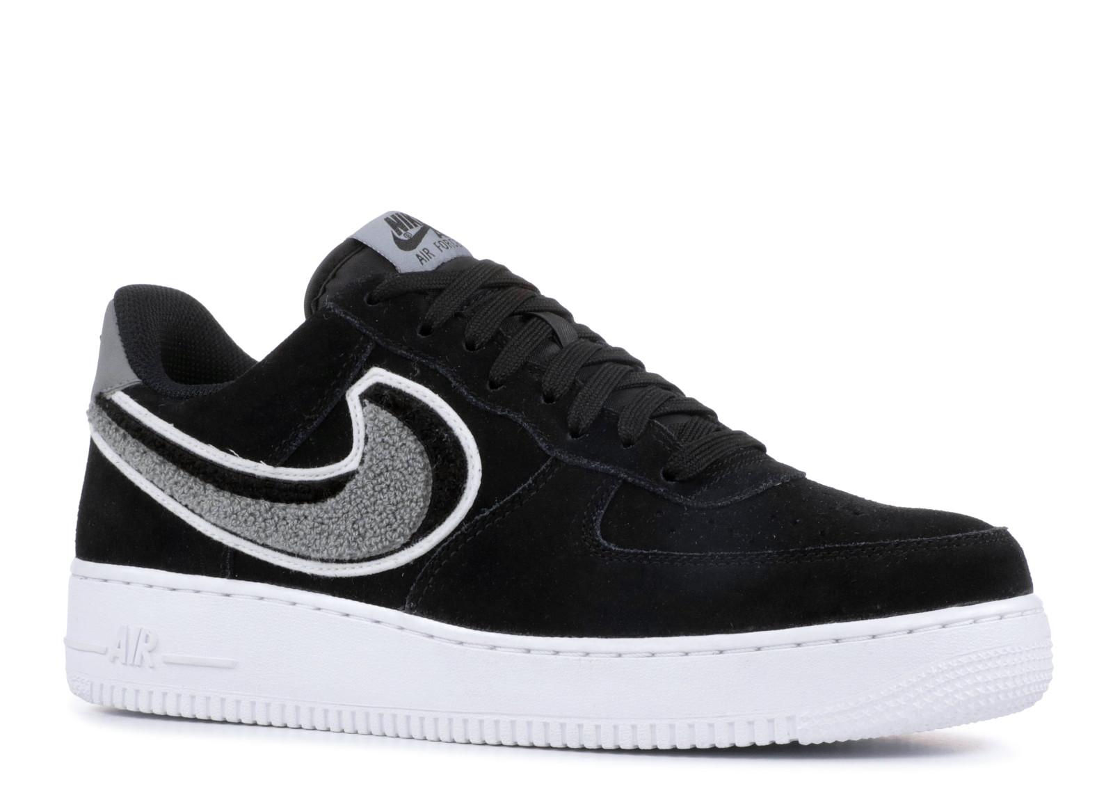 5e9cf2a9e9 Nike Air Force 1 Low 3D Chenille Swoosh Black Cool Grey - 1